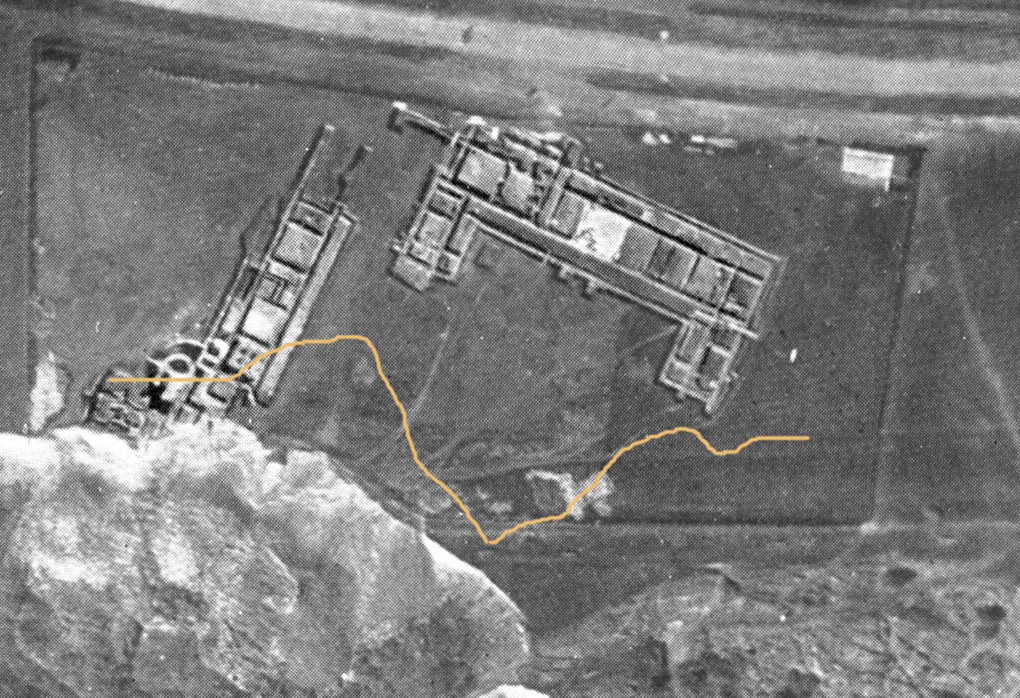 Romans 0a 1924 aerial view of Folkestone Roman Villa with line showing hoiw much the coastline had eroded by 2010