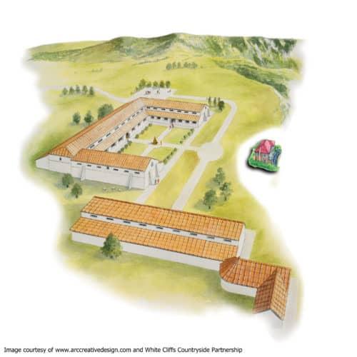 Romans 1a Artist's impression of Folkestone Roman Villa in use