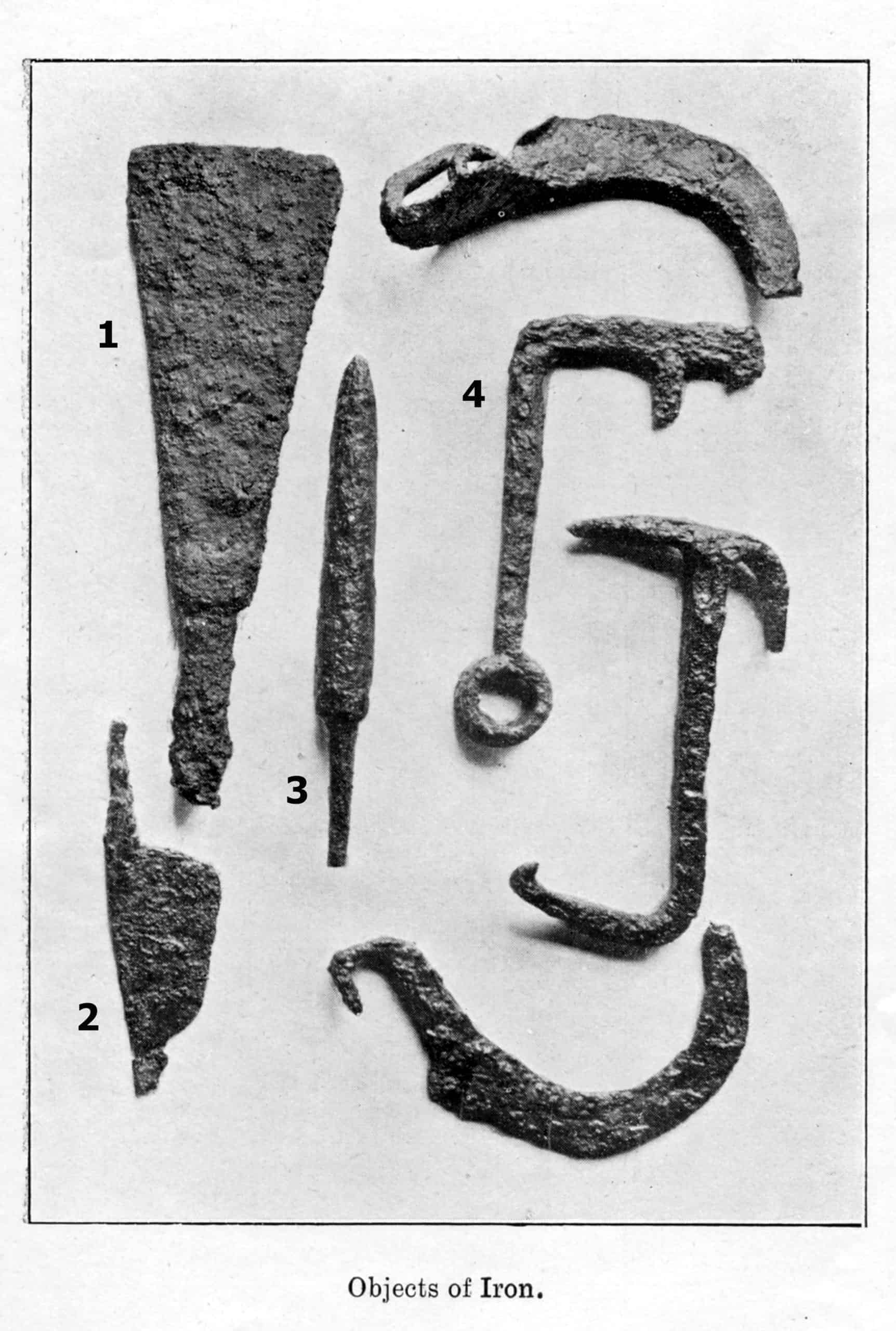 'objects of iron' from s e winbolt's: borough of folkestone'roman villa site, east cliff' notes with numbered plan.