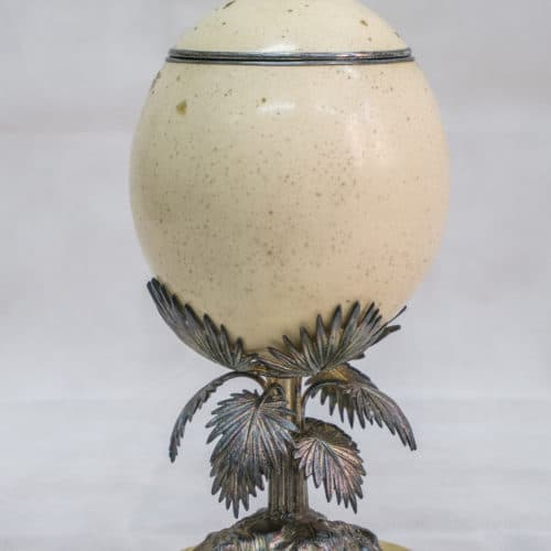 Cabinets of Curiosity 1a F7465_FTC_Polished_Ostrich_Egg_with_Palm_Stand_FCC