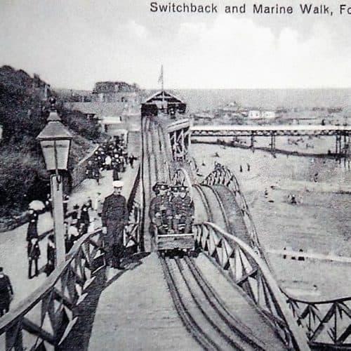 Seaside 11 WW1 soldiers having fun on the Switchback Railway