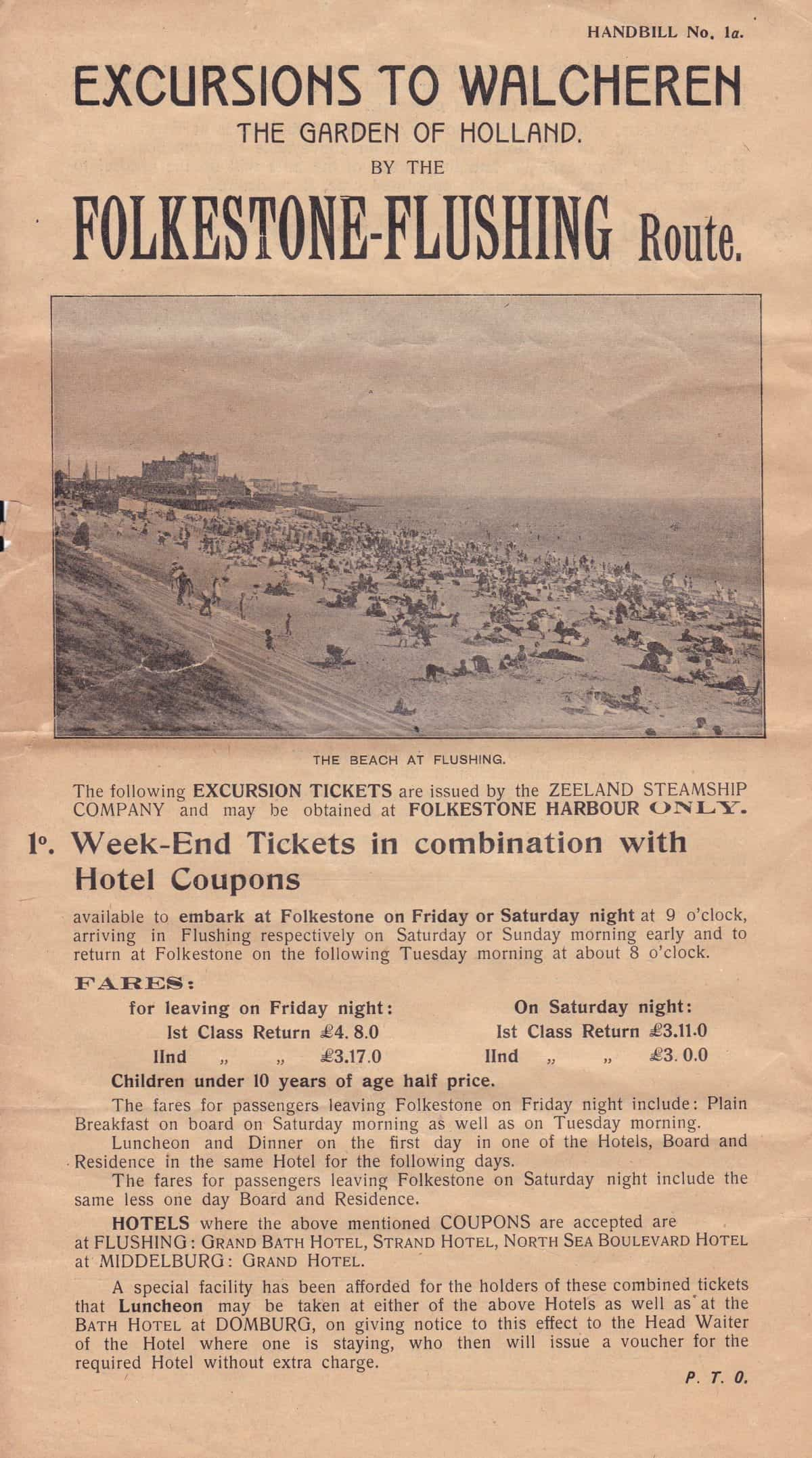 Seaside holidays 15F5202 (2) Excursions to Walcheren Tea Garden of Holland by the Folkestone -Flushing route. Folkestone Congress June 20th to 25th 1921