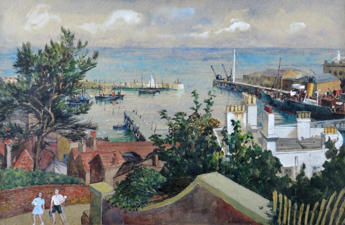 Seaside holidays 18 F3714 (2) Folkestone Harbour from the Bayle Steps. 1949 Artist E D Roberts