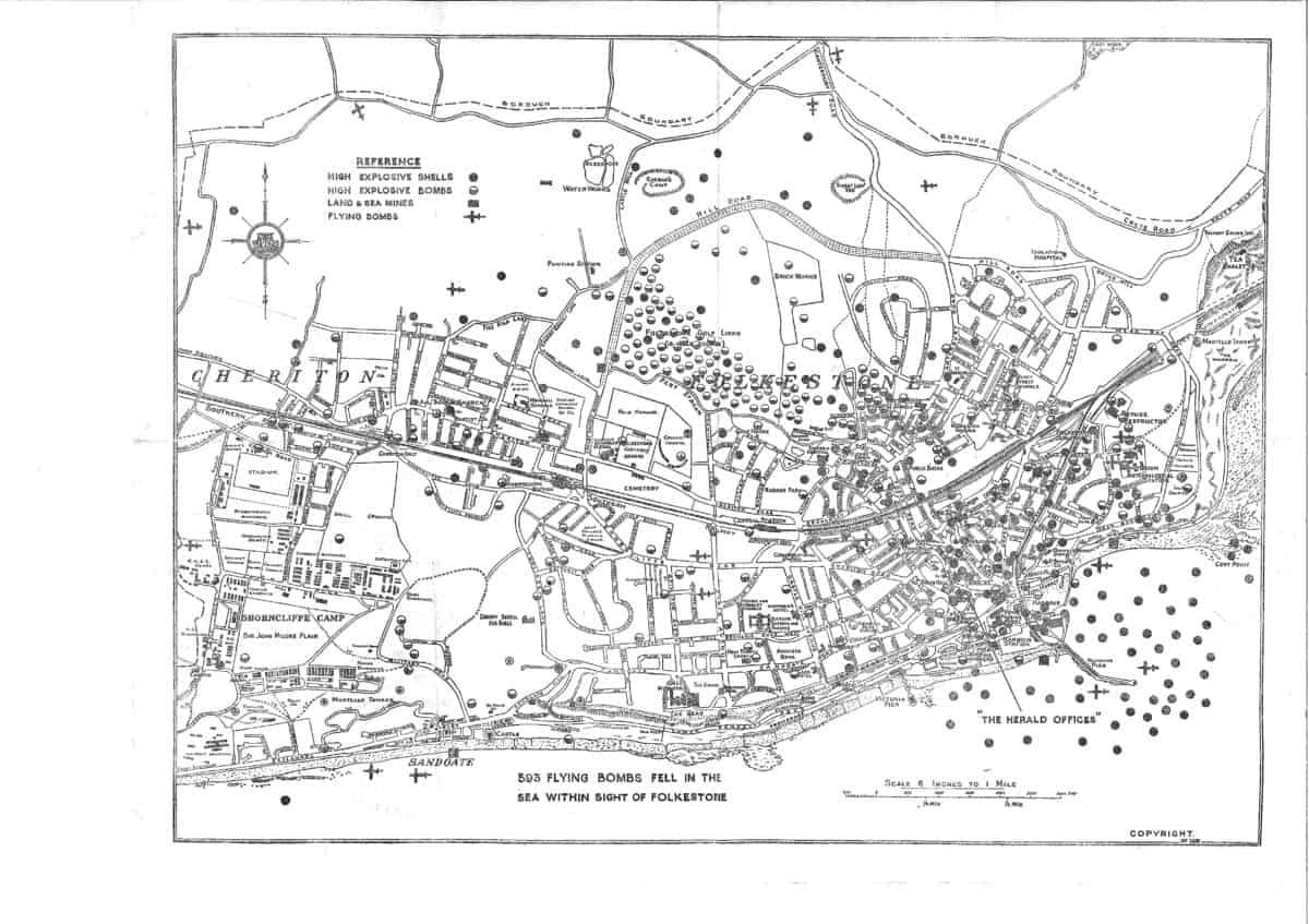 WW2 1 Folkestone Town Bomb Map
