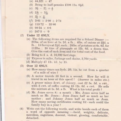 WW2 6 Wartime schooling 1940 exam paper inc Dig for Victory question F7401.04