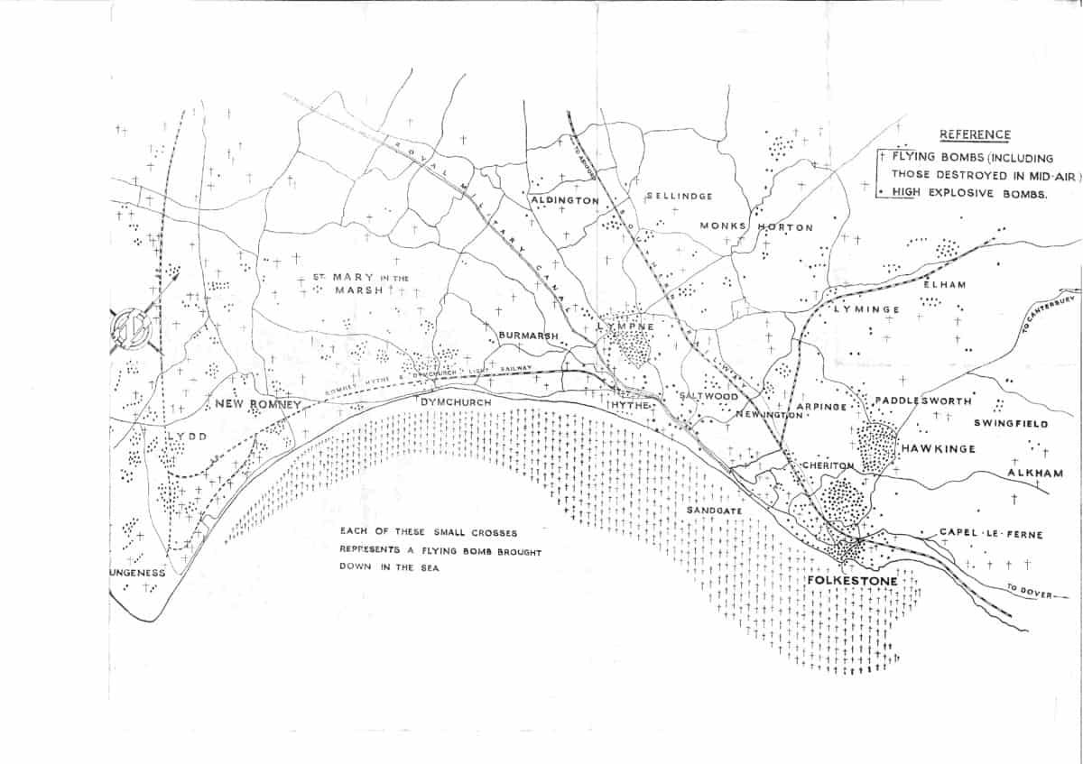 WW2 7 Folkestone Flying Bomb Map