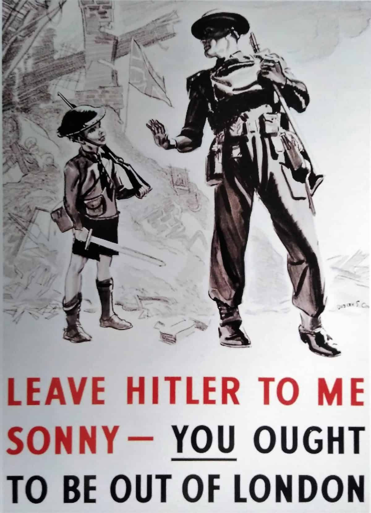 WW2 9 Evacuation poster - Leave Hitler to me sonny (cropped)