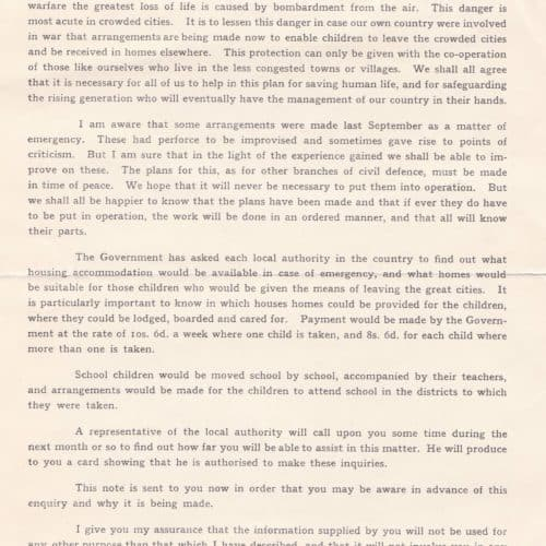 WW2 9 F6869 Government Evacuation Scheme Letter from the Mayor of Folkestone 1939 (cropped)