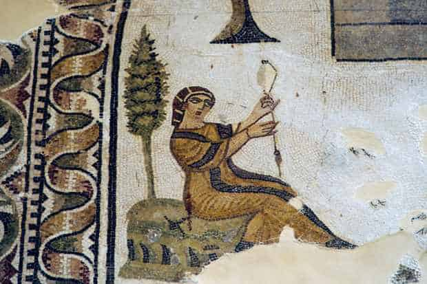 TUNISIA - MAY 12: Woman spinning, Rural villa, mosaic from Thabraca, Tabarka, Tunisia. Roman civilisation, 4th-5th century AD. Detail. Tunis, Musée National Du Bardo (Archaeological Museum) (Photo by DeAgostini/Getty Images)