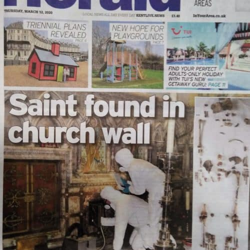 Anglo Saxon 12 Folkestone Herald newspaper - discovery of St Eanswythe