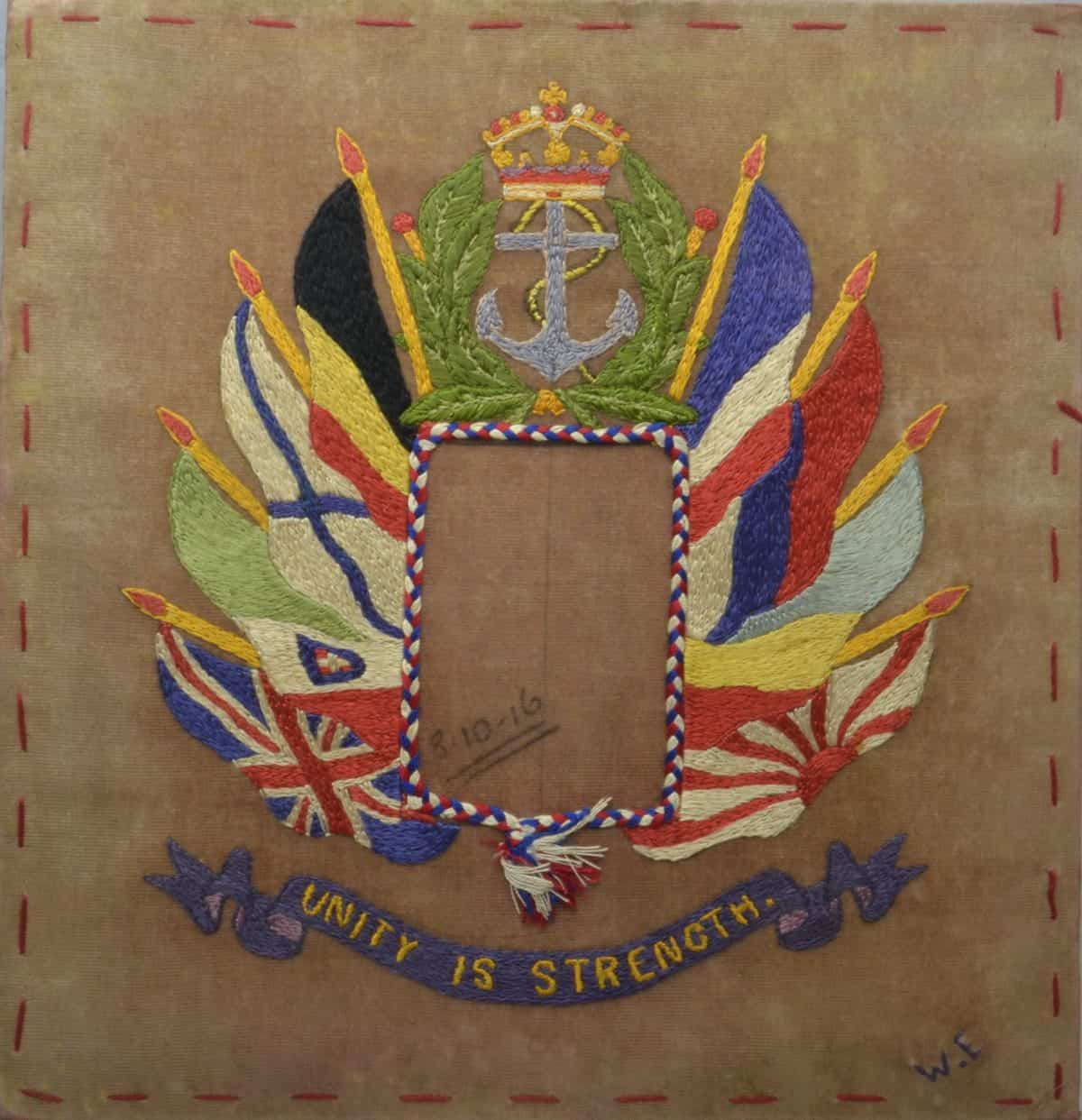 WW1 10 F5799 Embrodery - Flags of allied nations surmounted by anchor over motto Unity is strength 3.10.16 close-up