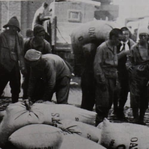 WW1 14 Chinese labour Corps unloading sacks of oats