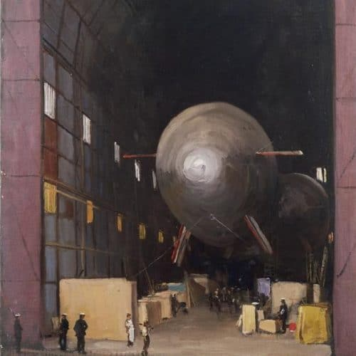 The Silver Queen, Wormwood Scrubs, 1915. One of the Original 'Blimps'. (Art.IWM ART 1267) image: A view of a large silver airship housed in a large arched building. Various crates and boxes are also kept in the building and people are visible in the foreground, some of whom appear to be wearing naval uniform. Copyright: © IWM. Original Source: http://www.iwm.org.uk/collections/item/object/16247