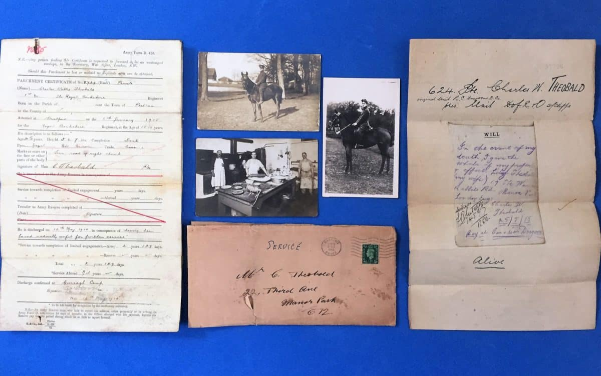 WW1 18 Collection of Private Charles Willis Theobald (Berkshire Regiment and Royal Canadian Dragoons)