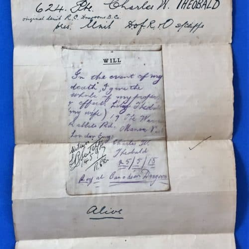 WW1 18 Private Charles Willis Theobald - Battlefield Will written 25 May 1915 - full page
