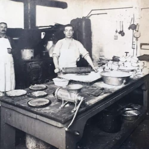 WW1 18 Private Charles Willis Theobald (Royal Canadian Dragoons), centre, working in regimental kitchen, Canada 1914