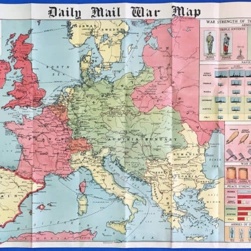 WW1 3 Daily Mail war map opened up