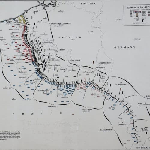WW1 4 Art Store H2 F3909 Map of the Western front, signed by Field MArshal Douglas Haig 1974. (2)