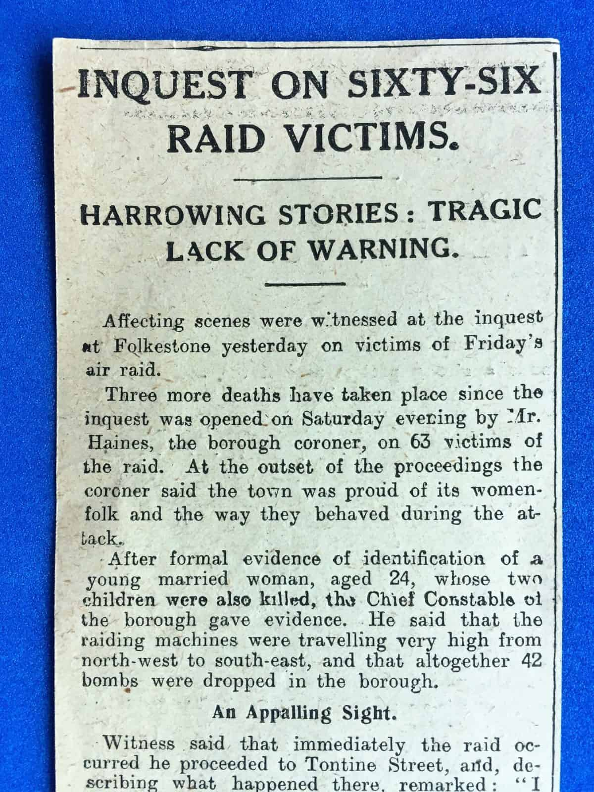WW1 5 Tontine Street air raid newspaper article 1