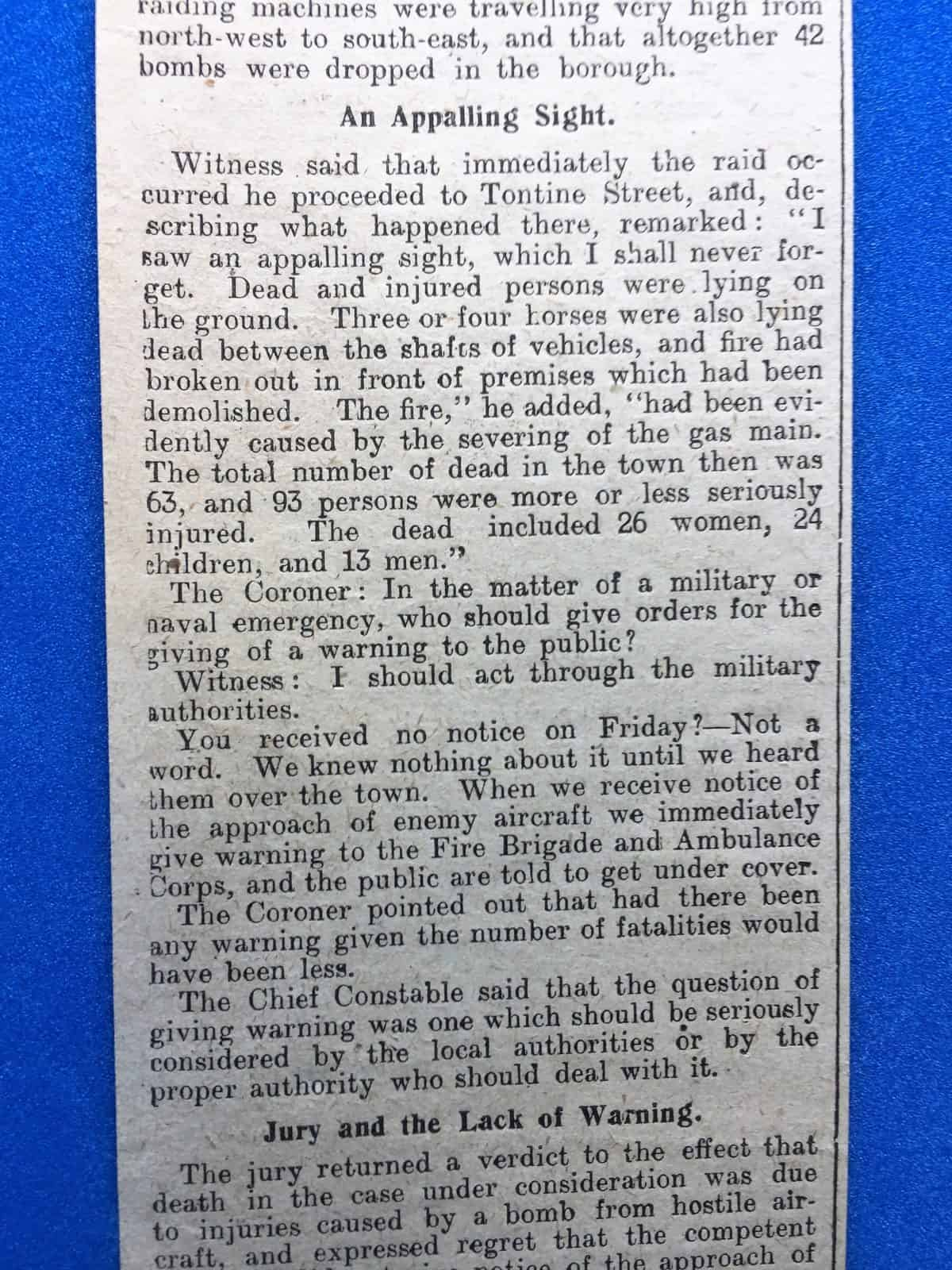 WW1 5 Tontine Street air raid newspaper article 2