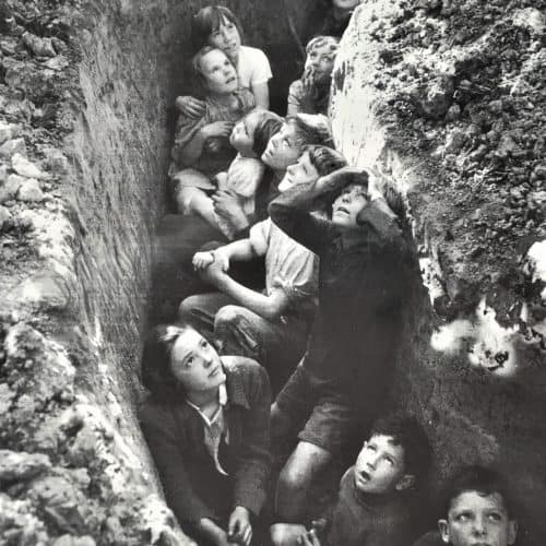 WW2 13 Children in a slit trench watching the Battle of Britain