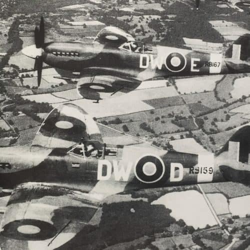 WW2 13 Spitfires flying over Kent in WW2