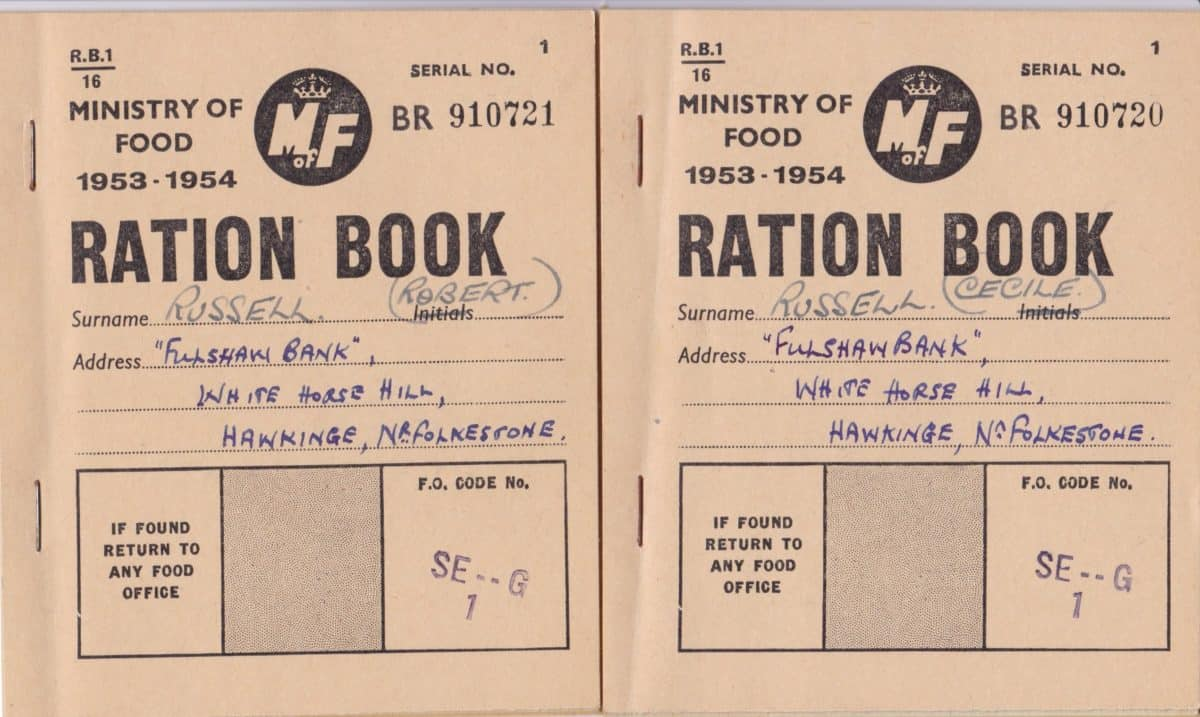 WW2 18 F5812.1-2 Two Ration Books