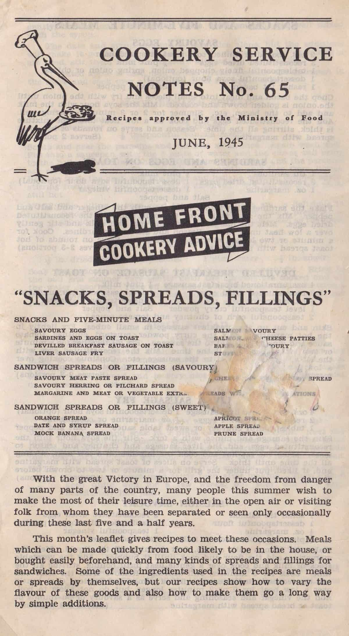 WW2 18 F5974.02 Cookery Service Notes No 65 (june 1945)