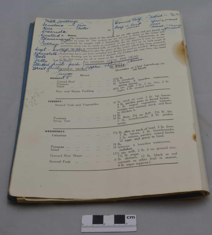 WW2 6 F5250 Menu Book of School Dinners