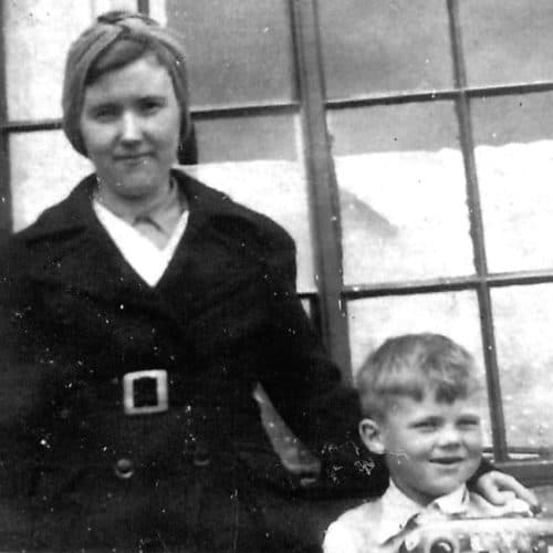 WW2 8 Martin Philpot outside Rita Place with his mother