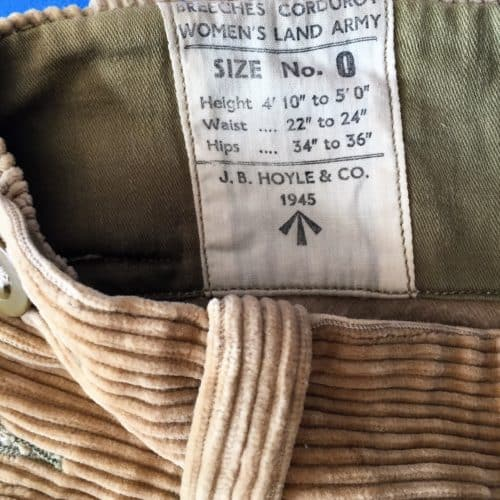 Women's Land Army - corduroy breeches - label