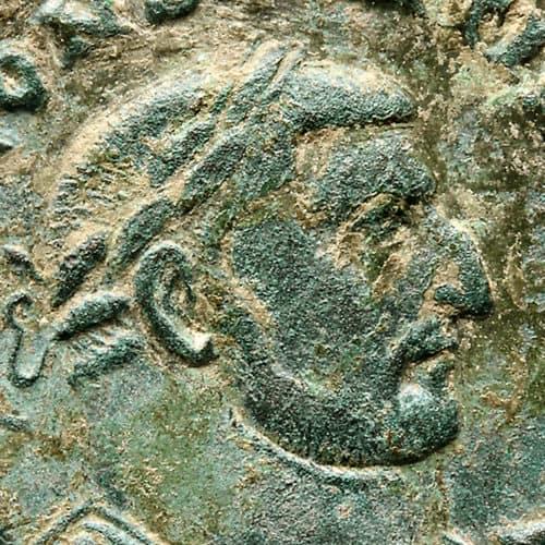 Romans Resources Coin of Emperor Constantius I close-up