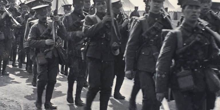 WW1 Resources Berkshire Regiment marching from Shorncliffe to Folkestone Harbour in WW1